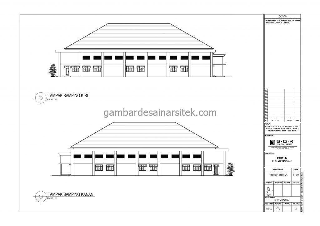 Tampak Samping Kiri Tampak Samping Kanan Gedung Serba Guna Gambar Desain Bangunan Sekolah Boarding School