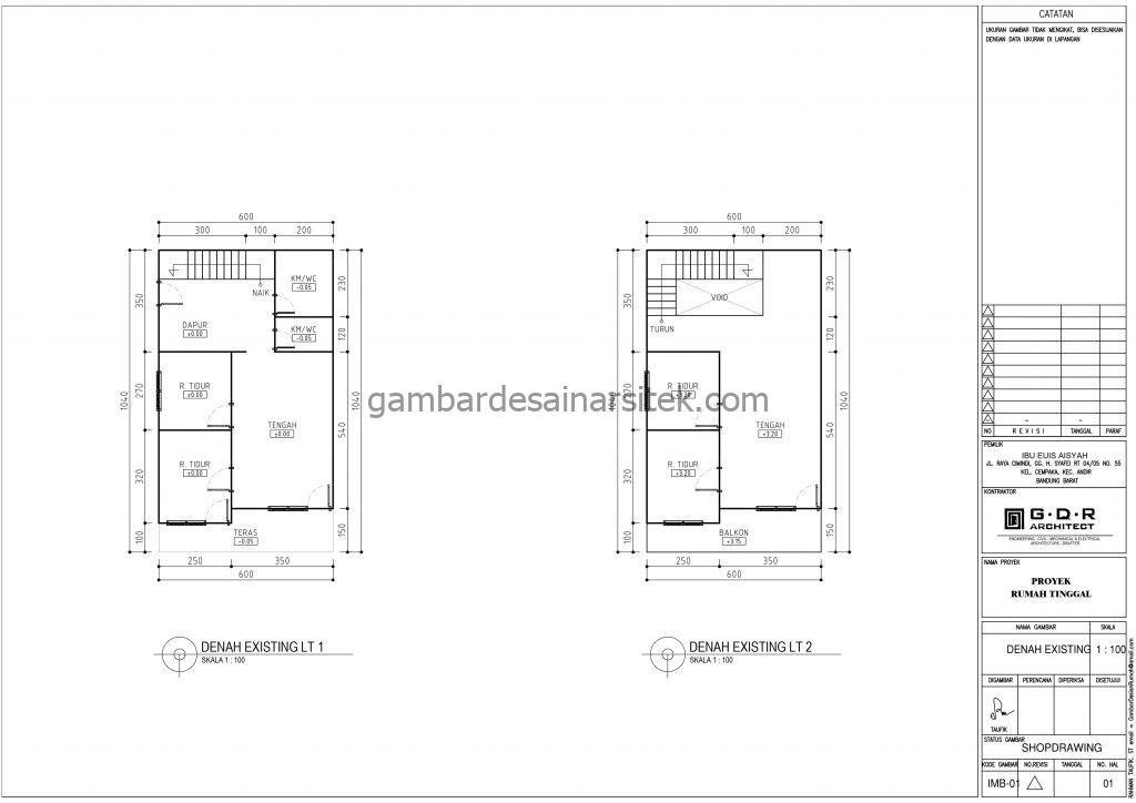 denah gambar desain rumah kost minimalis 2 lantai 6x10 5