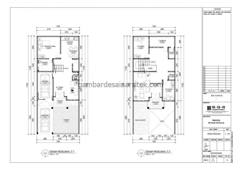 denah gambar desain rumah mewah 2 lantai 7x17 3