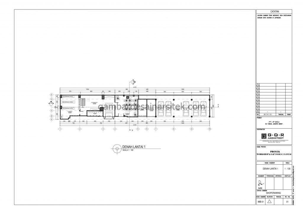 denah gambar desain workshop dan lap tools 2 lantai 4