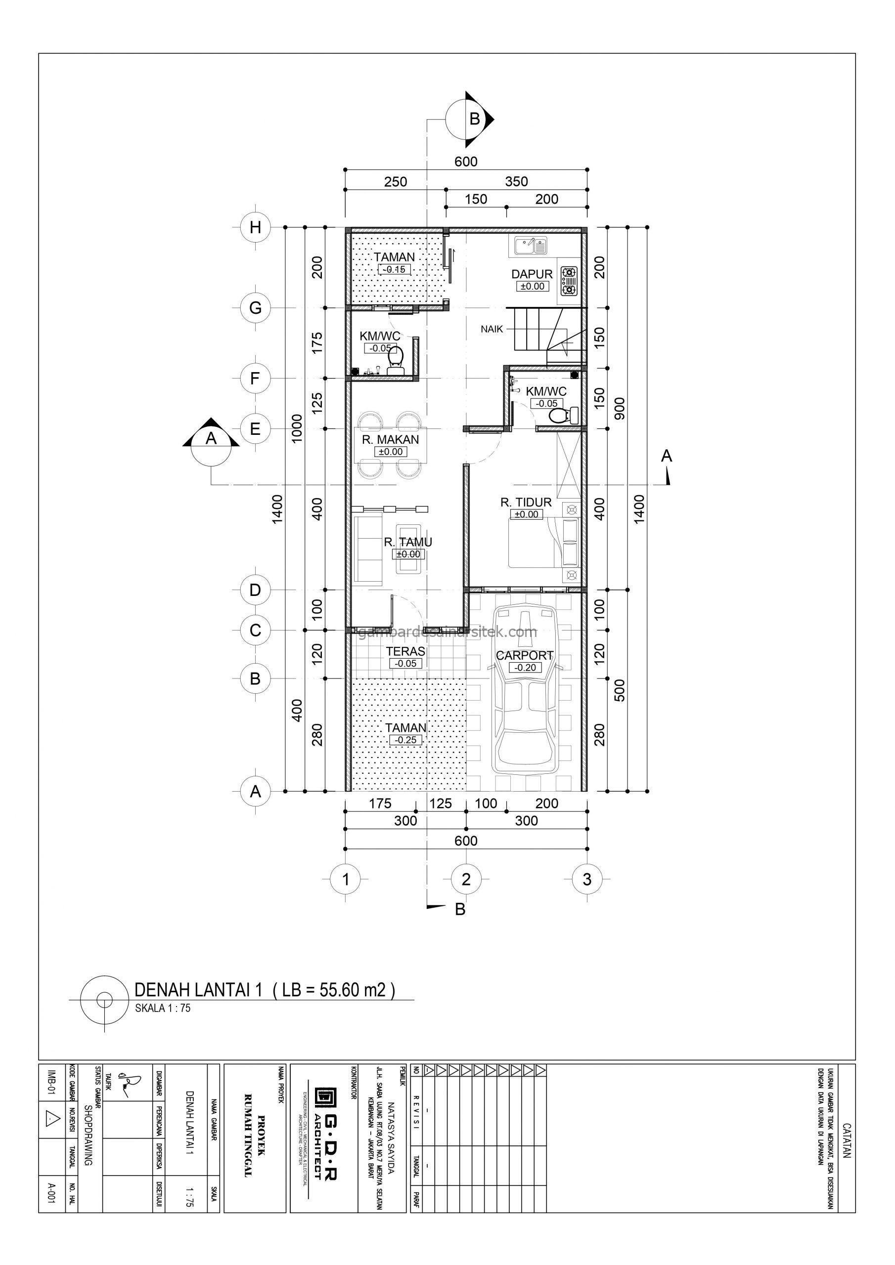 denah lantai 1 gambar desain rumah 2 lantai 6x14 3 scaled