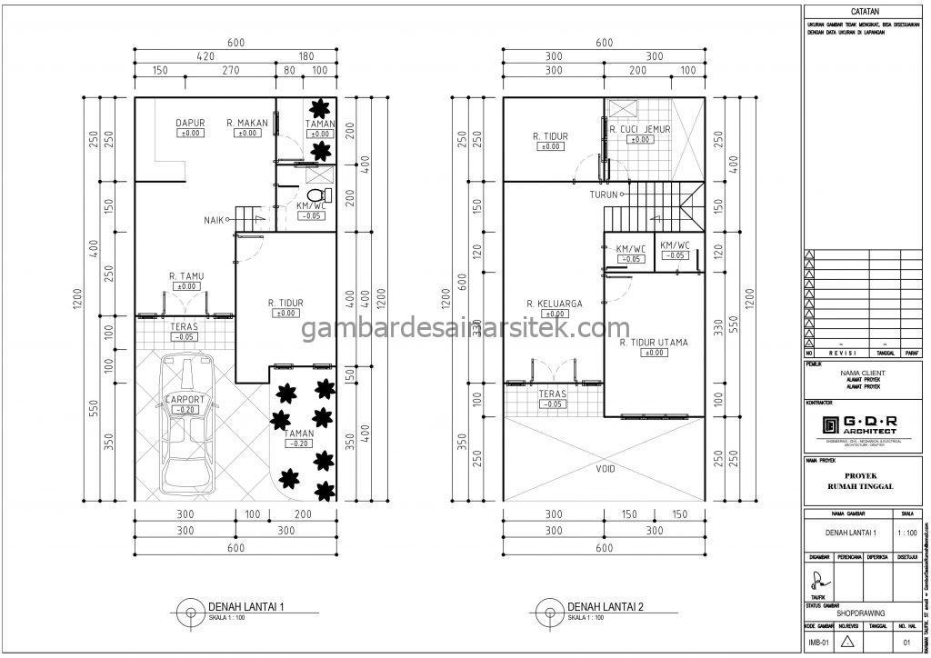 denah desain rumah minimalis 2 lantai 6x12 1