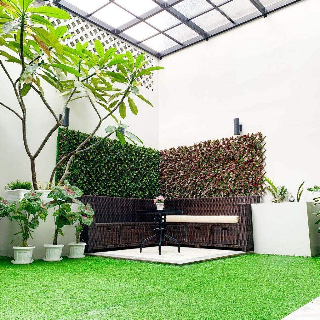 taman belakang rumah ada vertical garden