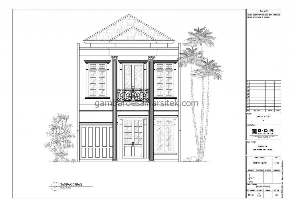 tampak gambar desain rumah mewah 2 lantai 7x17 5