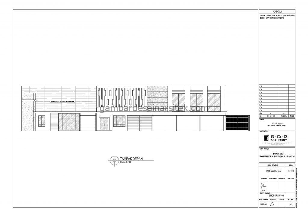 tampak gambar desain workshop dan lap tools 2 lantai 3