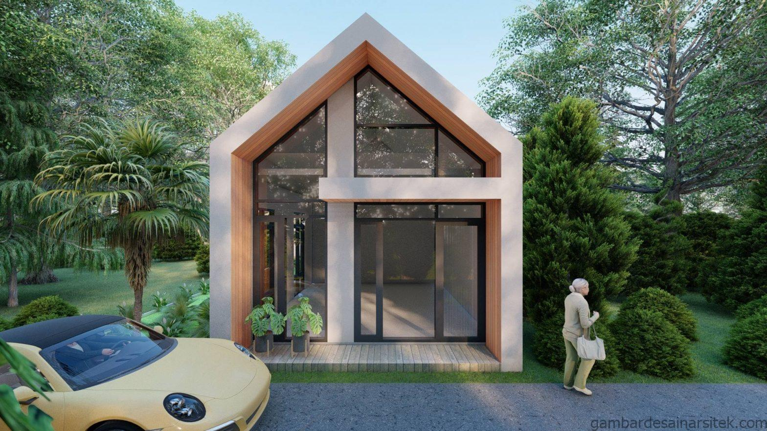 Tampak Desain Rumah Minimalis Tropis 1 lantai Villa 1