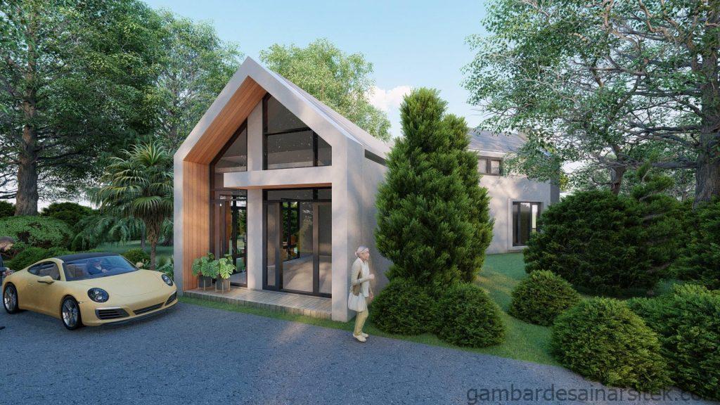 Tampak Desain Rumah Minimalis Tropis 1 lantai Villa 2