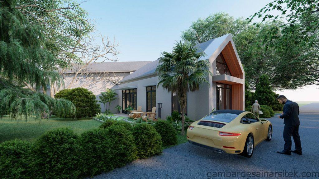 Tampak Desain Rumah Minimalis Tropis 1 lantai Villa 3