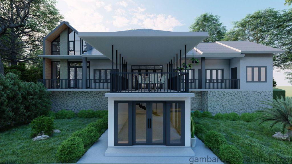 Tampak Desain Rumah Minimalis Tropis 1 lantai Villa 4