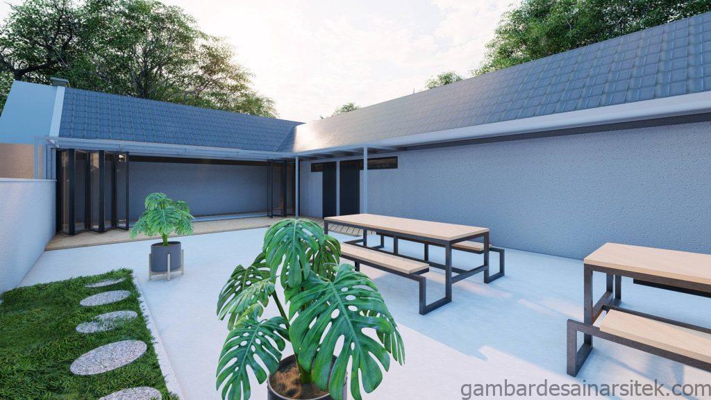 Tampak Taman Desain Rumah Minimalis Tropis 1 lantai Villa 5