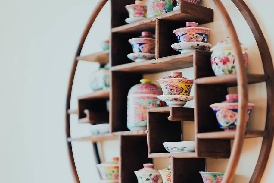 bulat coklat kayu rak dinding mebel rak lemari pakaian