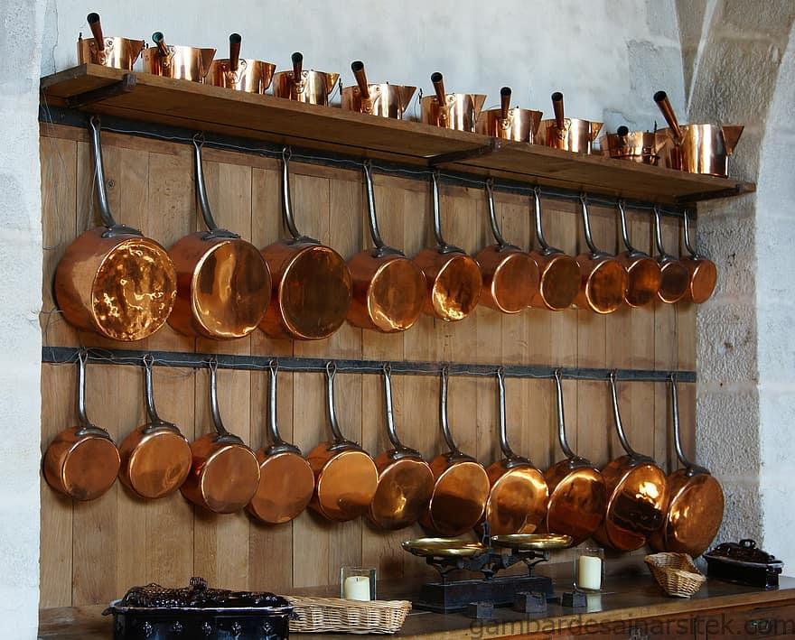 dapur tembaga pot panci rak dalam pedalaman gantung alat 1