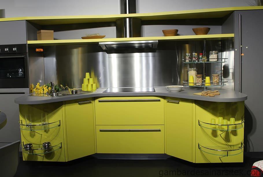 hijau abu abu tabl dapur dapur dapur modern mebel dapur 4 1