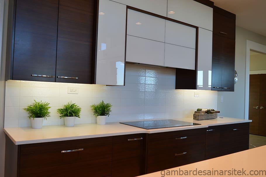 putih coklat kayu lemari dapur kabinet dapur modern rumah 1